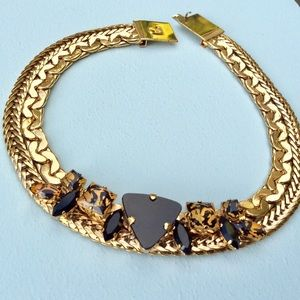 Black Onyx Anthropologie 24k Gold Plated Necklace
